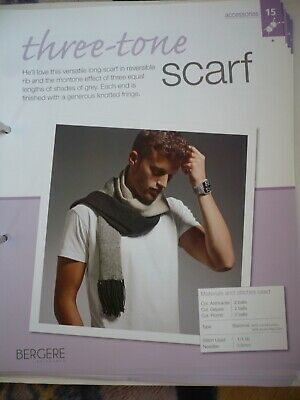 Three Tone Scarf Knitting Pattern From Bergere De France Magazine • 1.50£