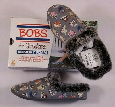 NIB Skechers BOBS Charcoal CAT Snuggle Up Mules Study Club Faux Fur Slippers 7 • 16.64£