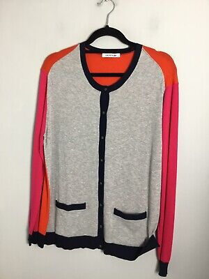 Authentic Lacoste Cotton Cardigan. Grey/ Blue/ Pink/ Orange. VGC. UK Large • 22£