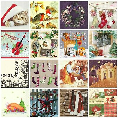 £3.99 • Buy Christmas Paper Napkins (Packet X 20) Festive Designs Party Crafting Decoupage