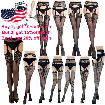 $6.65 • Buy Women Sexy Lingerie Fishnet Sleepwear Stocking Thigh High Lace Garter US Seller