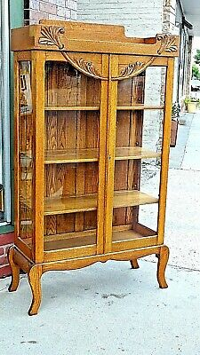 $899.99 • Buy Arts & Crafts Mission Antique Oak Double Door China Display Cabinet Bookcase