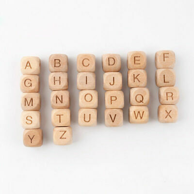 £3.30 • Buy 12mm Beech Alphabet Natural Wooden Letter Beads Baby Teething Cube Beads Toy DIY