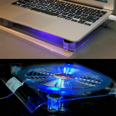 New Laptop Cooling Pad Blue LED Light Notebook Cooler Fan Stand Tray For 10-14  • 9.99£