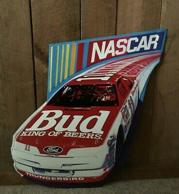 $ CDN105.39 • Buy Vintage Budweiser Beer Bill Elliott #11 NASCAR 1989 Embossed Metal Sign