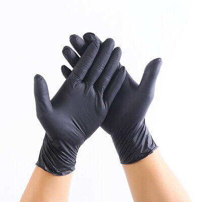AU9.99 • Buy 20pcs Black Disposable Mechanic Nitrile Gloves Tattoo Latex Powder Free Workshop