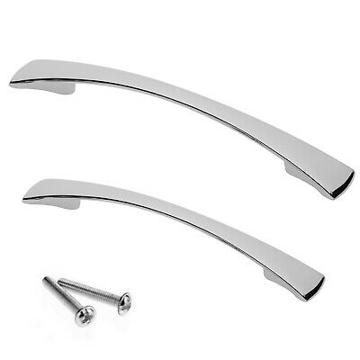 Bowed Chrome Kitchen Cupboard Cabinet Drawer Door Handles - Satin Available • 1.97£