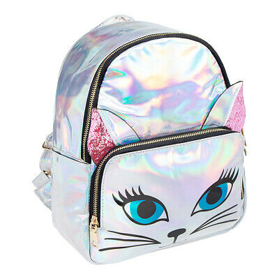 Blue Banana Holographic Cute Kawaii Cat Small Silver Backpack/Rucksack/Bag • 14.64£