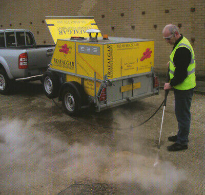 Trailer Hot Water Steam Pressure Washer Chewing Gum Graffite Removal Sale / Hire • 13,400£