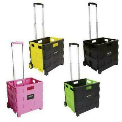 NEW Folding Boot Cart Shopping Trolley Fold Up Storage Box Wheels Crate Foldable • 17.99£