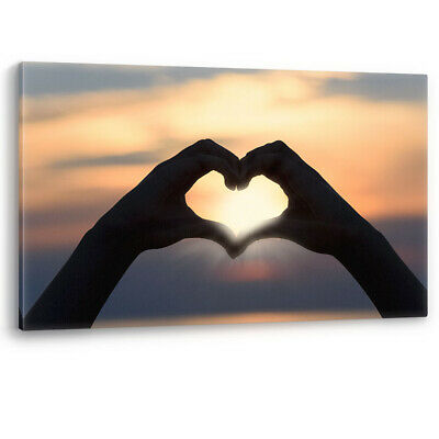 £22.95 • Buy Love Heart In Hands Romantic Sunset Luxury Canvas Wall Art Large Picture Print