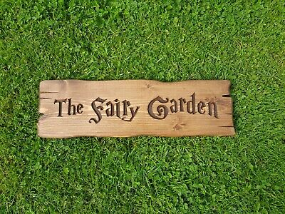 £9.99 • Buy Fairy Garden, Rustic Carved Wooden Sign