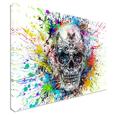 Modern Abstract Skull Splatter Canvas Wall Art Picture Print • 17.99£