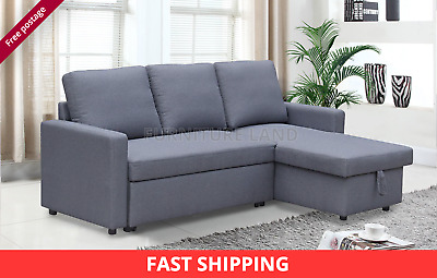 £379 • Buy Corner Sofa Bed Scandinavian Style Grey Fabric Storage Pull Out Modern Cushions