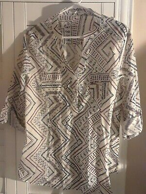$ CDN32.81 • Buy NEW XL~Eden & Olivia Anthropologie Ivory Blue Rust Tunic Popover Shirt Top Tab