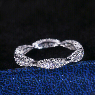 AU2.77 • Buy Fashion Women 925 Silver Rings Round Cut White Sapphire Wedding Ring Size 6-10