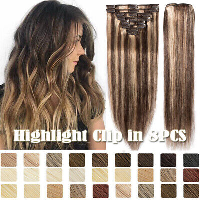Russian 100% Human Hair Full Head Clip In Real Remy Hair Extensions Highlight UK • 27.87£
