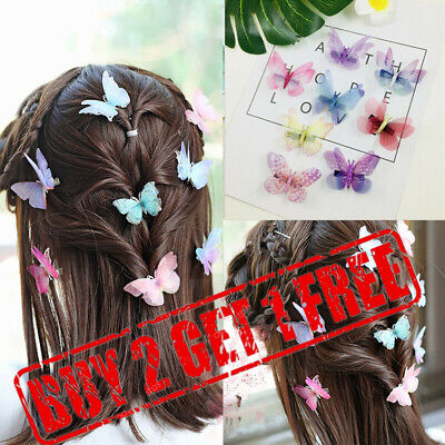 £1.99 • Buy 3D Butterfly Hair Clips Mixed Imitation Festival Summer Party Wedding Kid Gift