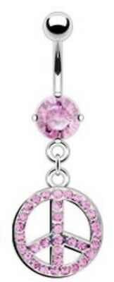 NEW & SEALED Crystal Pink Peace Symbol Dangle Belly Navel Bar Ring • 5.98£