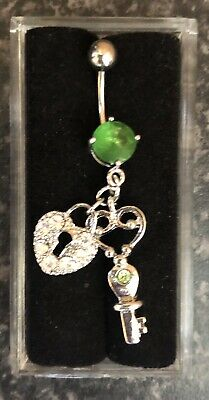 NEW & SEALED Green Lock & Key  Dangle Belly Navel Bar Ring • 5.98£