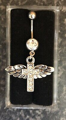 NEW & SEALED Angel Wing & Cross  Dangle Belly Navel Bar Ring • 5.98£
