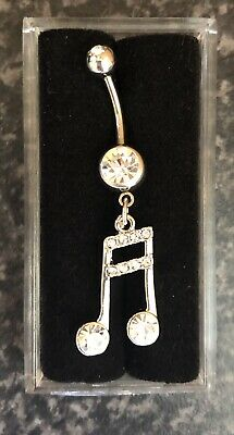 NEW & SEALED Music Clef Musical Note  Dangle Belly Navel Bar Ring • 5.98£