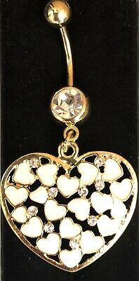 NEW & SEALED Large Gold Mother Of Pearl Heart Dangle Belly Navel Bar Ring • 5.98£