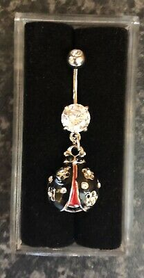 NEW & SEALED Crystal Lady Bird Insect  Dangle Belly Navel Bar Ring • 5.98£