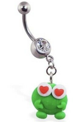 NEW & SEALED Green Cartoon Frog Dangle Belly Navel Bar Ring • 5.98£