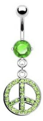 NEW & SEALED Crystal Green Peace Symbol Dangle Belly Navel Bar Ring • 5.98£
