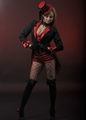 $ CDN45.14 • Buy Womens Burlesque Showgirl Adult Fancy Dress Costume Petite Tailcoat Black & Red