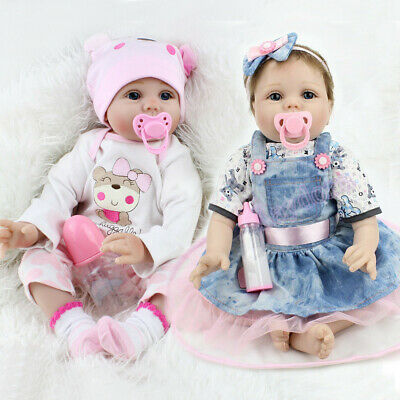 $ CDN205.52 • Buy Reborn Dolls Twins Real Baby Doll Realistic Silicone Vinyl Lifelike Girl Dolls