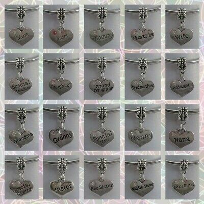 ❤ Family & Friendship Heart Charms (New Style Bail) ❤ FOR CHARM BRACELETS ❤  • 1.49£