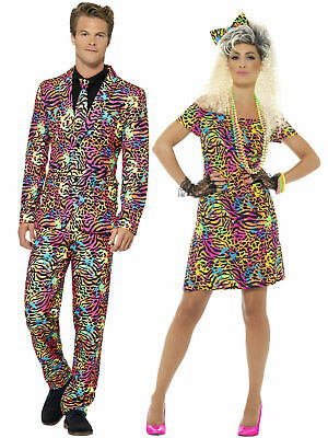 AU26.58 • Buy Adults 80s Fancy Dress Costume Party Animal Neon Rave Womens Mens Outfit Suit