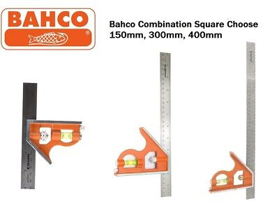 Bahco Combination Set Square Stainless Steel Ruler Choose 150mm, 300mm, 400mm • 8.95£