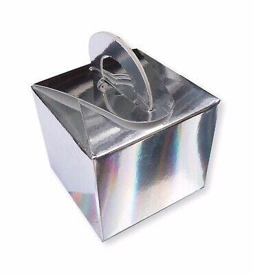 £2.75 • Buy 10 Silver Holographic Balloon Weight Boxes Wedding Favours Gifts Birthday Party