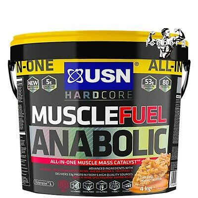 USN Muscle Fuel Anabolic 4Kg Muscle Mass All In Protein Caramel Free Delivery! • 49.99£