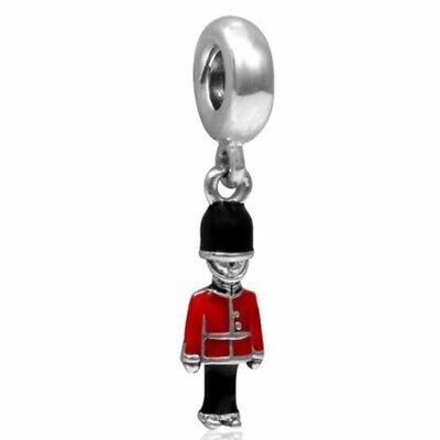 Silver London Beefeater Red Soldier Charm Silver Plated European Souvenir Charm • 3.99£