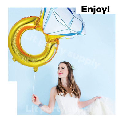 AU15.56 • Buy 43  Huge Diamond Engagement Ring Balloon Wedding Bridal Bachelorette Gold Foil