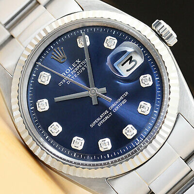 $ CDN5387.51 • Buy MENS ROLEX DATEJUST BLUE DIAMOND 18K WHITE GOLD/SS STEEL WATCH W/OYSTER BAND