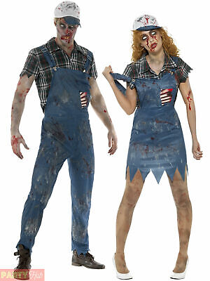 Zombie Hillbilly Costume Mens Ladies Halloween Farmer Fancy Dress Couples Outfit • 14.95£