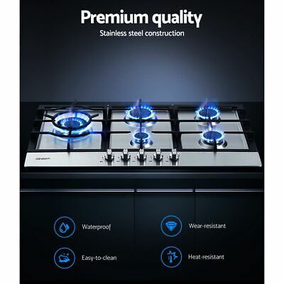 AU282.95 • Buy 5-Burner Built-in Gas Cooktop Stainless Steel NG Stove LPG With Safety Lock 90CM
