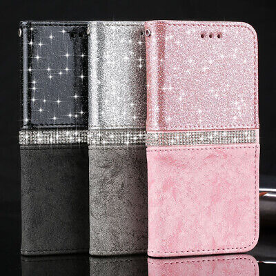 For Huawei P20 P30 Pro Mate20 P8 P9 Diamond Leather Bling Wallet Flip Case Cover • 5.99£
