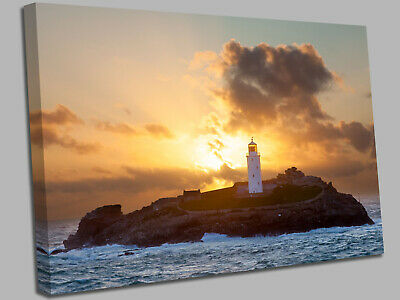 £17.99 • Buy Lighthouse On Godrevy Island Cornwall  Canvas Wall Art Picture Print