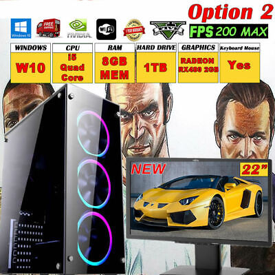 Quad Core Or I5 Fast Gaming PC 19  0r 22  Monitor Bundle 8GB 1TB GTA5 Computer  • 379£