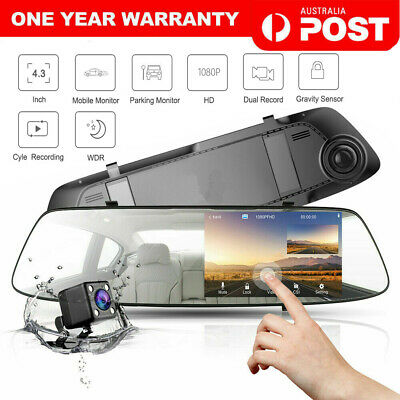 AU66.90 • Buy 4.3  Rear View Mirror Dash Car Reverse Camera Kits Double Cam FHD 1080P