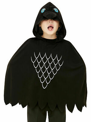 Childs Scary Crow Poncho Boys Halloween Fancy Dress Costume Outfit Bird Cape • 12.95£