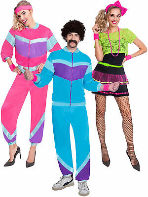 Adults 80s Costume Mens Ladies Shell Suit  Retro Tracksuit Fancy Dress Outfit • 13.16£