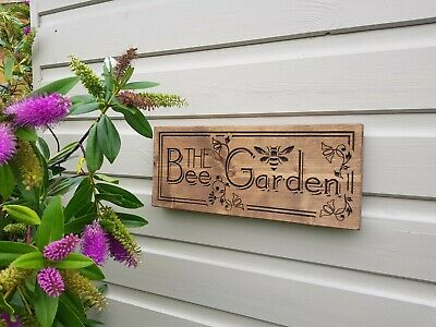 £9.99 • Buy The Bee Garden, Carved Wooden Sign