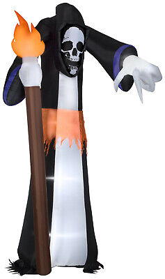 $ CDN126.56 • Buy HALLOWEEN GIANT 11 FT POINTING GRIM REAPER  FLAMES SKULL  Inflatable Airblown
